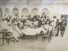Maharajah Bhupinder singh of patiala seated with other royals. Possibly nawab of Maler Kotla and raja of Faridkot or Jind By Rohit Sonkiya