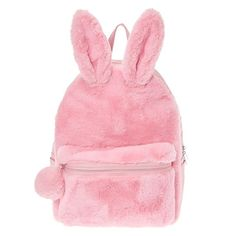 Furry Pink Bunny Backpack