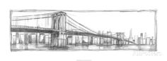 Brooklyn Bridge Sketch Giclée-Premiumdruck