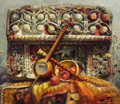 Still Life Painting - Still life with a fragment of khachkar and musical instruments cross stone by Meruzhan Khachatryan