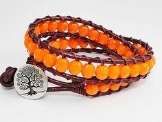 Pumpkin Orange Beaded Leather wrap bracelet by WrappedInLeather, $34.95
