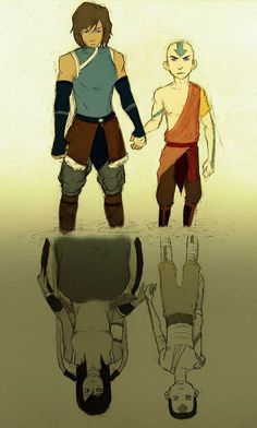 Korra looks super manly in the top pic but I love how it shows their injuries made them stronger.korra and aang Avatar Aang, Avatar Airbender, Avatar Legend Of Aang, Avatar The Last Airbender Funny, The Last Avatar, Avatar Funny, Team Avatar, The Legend Of Korra, Avatar Fan Art