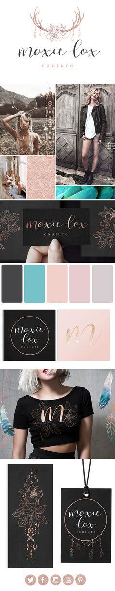 antler logo, logo design, antler, rose gold, logo, branding, elegant, hair extensions, beauty, luxe, boho, branding design, aqua, palette