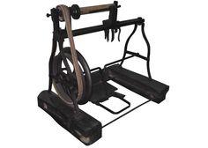 機械遺産Mechanical Engineering Heritage:足踏旋盤  《明治8(1875)年伊藤嘉平治作》  A Forged Iron Treadle Lathe made by Mr.Kaheiji Ito in 1875