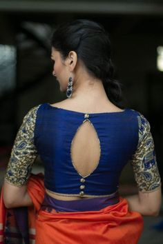New high neck blouse designs for diwali candy crow- indian beauty and lifestyle Indian Blouse Designs, New Saree Blouse Designs, Blouse Designs High Neck, Simple Blouse Designs, Stylish Blouse Design, Bridal Blouse Designs, Boat Neck Designs Blouses, Blouse Styles, Back Design Of Blouse