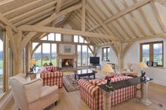 Green oak barn room with inglenook fireplace in Country House in Hampshire