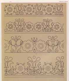 Embroidery flowers and borders Hungarian Embroidery, Embroidery Motifs, Learn Embroidery, Hand Embroidery Designs, Vintage Embroidery, Wool Applique Patterns, Applique Quilts, Stencil, Folk Art Flowers
