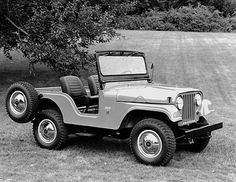 1966 Jeep CJ-5.  In 1965, Jeep introduced a new V-6 engine as an option on the CJ-5 and CJ-6. At 155 hp it almost doubled the horsepower of the standard four-cylinder engine.