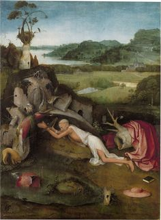 St Jerome Praying by Dutch painter Hieronymus Bosch This oil on panel is now in the Museum voor Schone Kunsten in Ghent, Belgium. St Jerome, Hieronymus Bosch Paintings, Dutch Painters, Expositions, Oil Painting Reproductions, Dutch Artists, Wassily Kandinsky, Renaissance Art, Museum Of Fine Arts