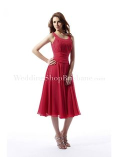 A-Line Scoop Tea Length Chiffon