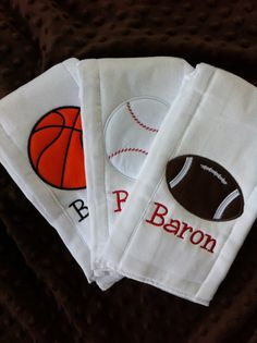 Set of 3 Personalized Burp Cloths - Diaper Cloths - Baby Boy - Monogrammed - Gift Set - Basketball Football Baseball Burp Cloth Diapers, Burp Rags, Burp Cloths, Baby Shower Gifts To Make, Baby Embroidery, Machine Embroidery, Justin Baby, Football Baby Shower, Baby Boy Monogram