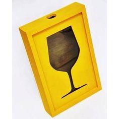 Quadro de Madeira Porta Rolhas 42 x 27 x 7 cm Amarelo