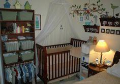 Baby corner - I love the idea of the bookshelf as storage and organization