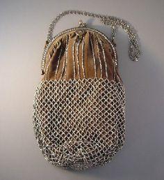 Purse mushroom gray velvet purse, cut steel beads