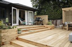 Gallery - Real Cedar Wood Deck Designs, Platform Deck, Tiered Deck, Cottage Porch, Backyard Renovations, Above Ground Pool Decks, House Paint Exterior, Backyard Projects, House Front