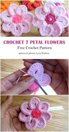 A flower is a wonderful gift for every woman, so we have the opportunity to make a gift for ourselves and make the day beautiful. Knitted Flowers Free, Diy Crochet Flowers, Yarn Flowers, Crochet Flower Tutorial, Crochet Instructions, Crochet Flower Patterns, Granny Square Crochet Pattern, Crochet Motif, Easy Crochet
