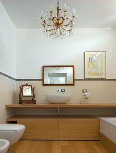 #bathroom #wood #modern #elegant #coolchandelier