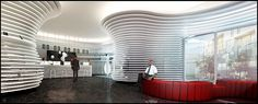 Fluid curving architecture - stunning commercial design... Love the design on the wall