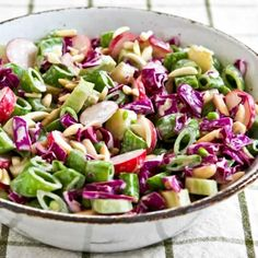 Asian Chopped Salad with Broccoli Stems, Sugar Snap Peas, Radishes, Red Cabbage, and Almonds [from Kalyn's Kitchen] GlutenFree LowCarb Vegetarian Radish Recipes, Healthy Salad Recipes, Asian Recipes, Fall Recipes, Meatless Recipes, Summer Recipes, Soup Recipes, Diet Recipes, Chicken Recipes