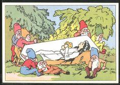 Alte Ansichtskarte: AK Zwerge trauern um Schneewittchen im Glassarg