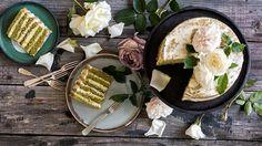 Matcha and almond layer cake