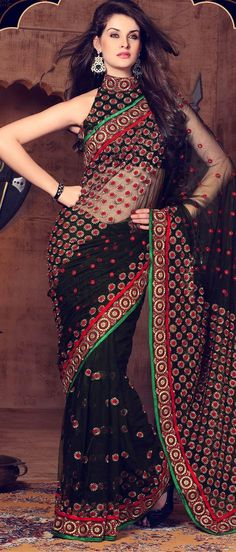 Saree : Pure Georgette With heavy Embroidery Work Blouse : Running Print Work :? Embroidery Heavy Quality Guarantee Material Occassion : Running wear Indian New Look Delivery Time Day's BKW India Fashion, Asian Fashion, Indian Dresses, Indian Outfits, Indian Clothes, Beautiful Saree, Beautiful Dresses, Black Net Saree, Collection Eid