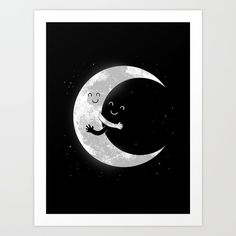 Moon Hug Art Print by Carbine. Worldwide shipping available at Society6.com. Just one of millions of high quality products available.