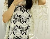 Ivory Hippie Fringe Top Hairpin Crochet Women Poncho Cape Blouse Summer Lace Beach Cover up