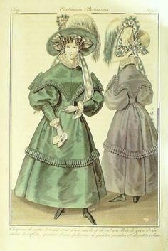 GRAVURE de MODE AUTHENTIQUE-I278-COSTUMES PARISIENS-ROBE DE MERINOS-2742-1829
