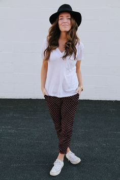 Shoes: Converse, Pants: H&M, Tee: F21, Hat: Free People, Watch: UO