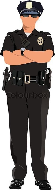 Stock vector of 'Police woman looking forward'