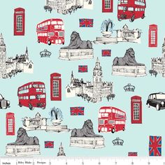 Riley Blake Designs - British Invasion - British Main in Blue