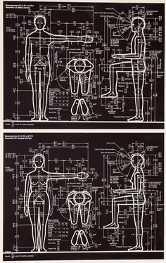 "Image from Humanscale presents diagrams with percentile measurements of men and women for use by designers.""for designing objects for maximum efficiency, comfort and safety."" Design since Diy Furniture, Furniture Design, Architecture People, Technical Architecture, Human Dimension, Workbench Plans, Chair Design, Industrial Design, Engineering"