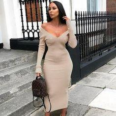 d2432ce26b HEYounGIRL Sexy Knitted Dress Elegant Deep V Neck Long Sleeve Sweater Dress  Women Bodycon Long Ladies Dresses Autumn Winter 2019