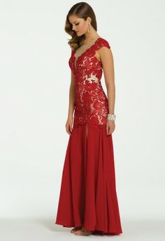 Beaded Lace Dress with Illusion Neckline from Camille La Vie and Group USA