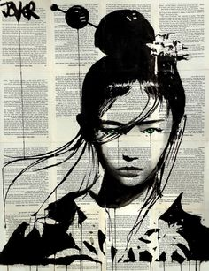 Loui Jover: ink/gouache on vintage book pages adhered together to make one sheet ready for framing as desired