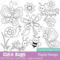 Alphabet Digital Stamps Part 6 - STUV clip art - School clipart Art Bug, Colouring Pages, Coloring Books, Embroidery Patterns, Hand Embroidery, Felt Crafts, Paper Crafts, Illustration Noel, Clip Art