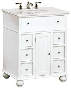 "Hampton Bay 28""W Single Sink Cabinet with White Granite Top"