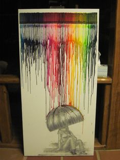 Rainbow Rain, melted crayon art by on Etsy Wax Crayons, Melting Crayons, Crayon Canvas, Crayon Painting, Canvas Art, Canvas Ideas, Painting Art, Fun Crafts, Arts And Crafts