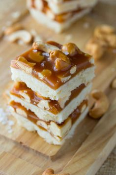 Salted caramel studded with cashews tops an easy shortbread cookie base. Only 15 minutes to prep! I've come to the realization that I am one of those people who gets fixated on stuff, and ca…