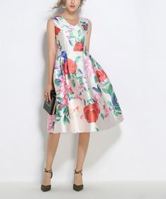 0f8400fce8 Love this White Floral Fit & Flare Dress on #zulily! #zulilyfinds Rose