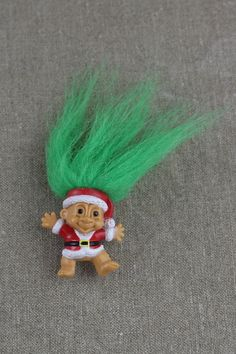 Small Green Hair Troll Doll Pencil Topper by FoundInTheGround, £3.00