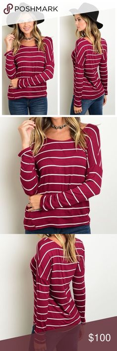 "🎉COMING SOON🎉 Burgundy/Ivory Striped Top! ""Like"" this listing and it will be lowered when it comes in-$20! Long sleeve striped scoop neck loose fitted jersey top. NWT Retail. Made in Vietnam. 95% Rayon 5% Spandex. Tops Tees - Long Sleeve"