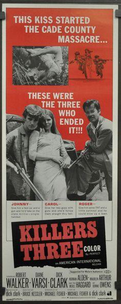 KILLERS THREE 1968 ORIGINAL 14X36 MOVIE POSTER ROBERT WALKER JR DIANE VARSI