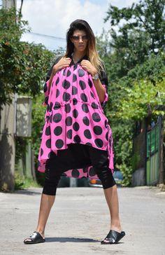 Plus Size Polka Dots Tunic Black Purple Dress Women by SSDfashion