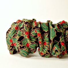CHRISTMAS HOLIDAY Red Green Holly Hair Scrunchie 80s Retro Hair Accessory by blacktulipshop, $4.00