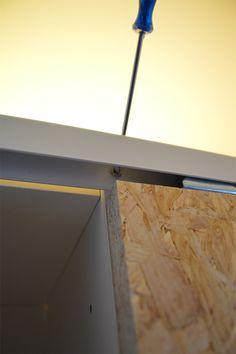 DIY Schiebetüren selber machen IKEA Hack Billy (17) Ikea Hack Billy, Hack Ikea, Diy Hack, Diy Wardrobe, Built In Wardrobe, Furniture Makeover, Diy Furniture, Tiny Guest House, Diy Sliding Door