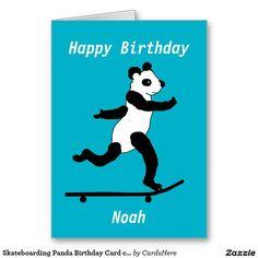 Skateboarding Panda Birthday Card customize Greeting Card