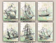 Sailboat Prints, Sail boat Collection, Set 3 prints 11x14, sailing map art, frigate, galleon nautical prints,  coastal decor, beach living on Etsy, $53.30 AUD