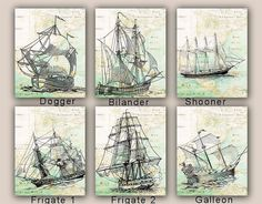 Sailboat Prints, Sail boat Collection, Set 3 prints 11x14, sailing map art, frigate, galleon nautical prints,  coastal decor, beach living on Etsy, $53.30 AUD